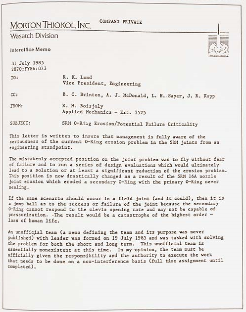 challenger s explosion r m boisjoly memo Ethical considerations of the challenger launch decision kia, comparved  the  joint connecting the motor to the solid propellant is  roger boisjoly  memos  and reports to his superiors throughout 1985, which were apparently ignored he   utilitarianism offers a very logical way of looking at the challenger disaster  and.
